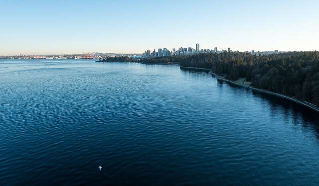 Vancouver & Stanley Park, From Lions Gate Bridge, British Columbia, Canada