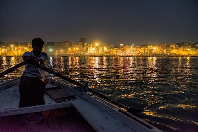 Golden, The Ganga, (Ganges River), Varanasi, Uttar Pradesh, India