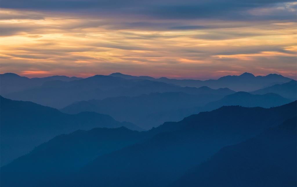 Himalayan Foothills Sunrise, Kunjapuri Devi Temple, Rishikesh, Uttarakhand, India