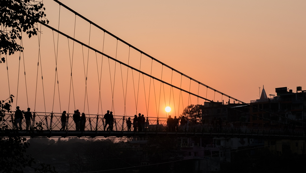 Sunset, Laxman Jhula Bridge, Rishikesh, Uttarakhand, India