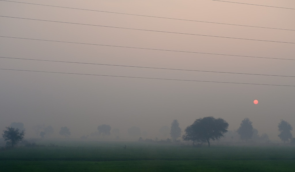 Smokey Sunrise, Delhi to Agra train, Uttar Pradesh, India