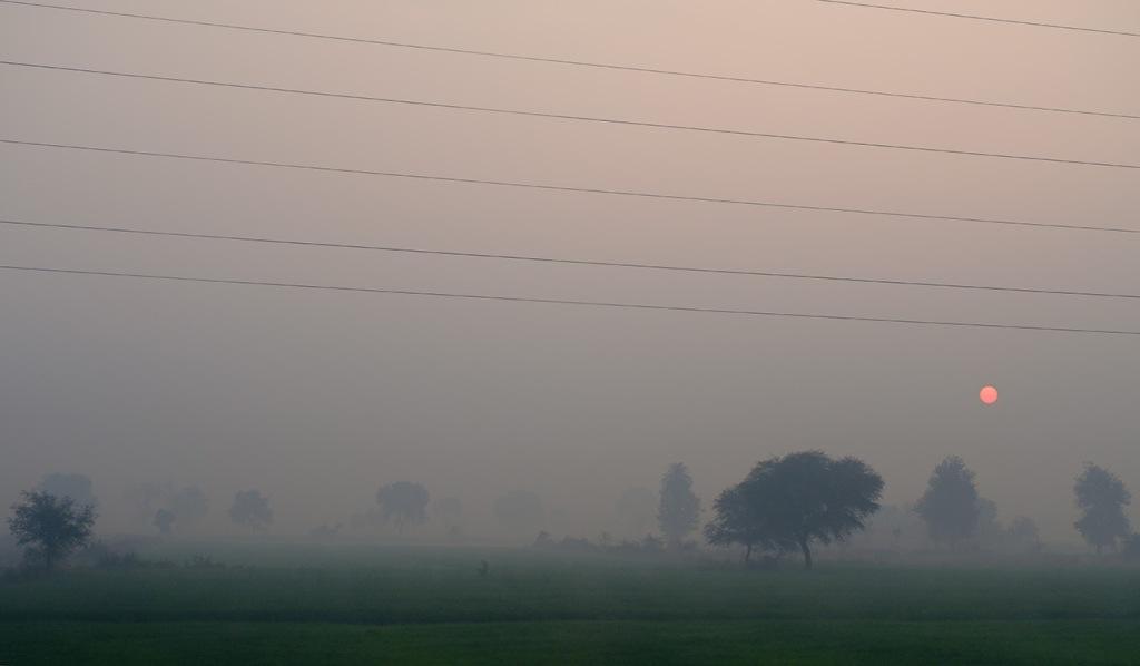 Smokey Sunrise, Delhi to Agra train, Uttar Pradesh, India