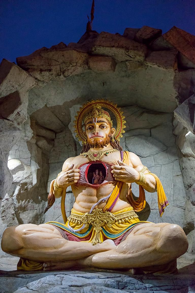 Hanuman bares his heart, Parmarth Niketan Ashram, Rishikesh, Uttarakhand, India