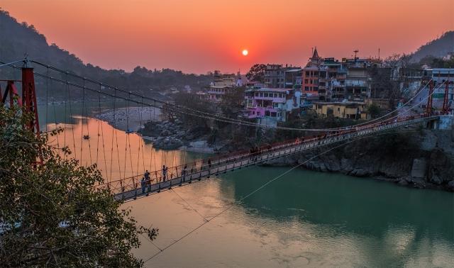 Laxman Jhula Sunset, The Ganga (Ganges River), Rishikesh, Uttarakhand