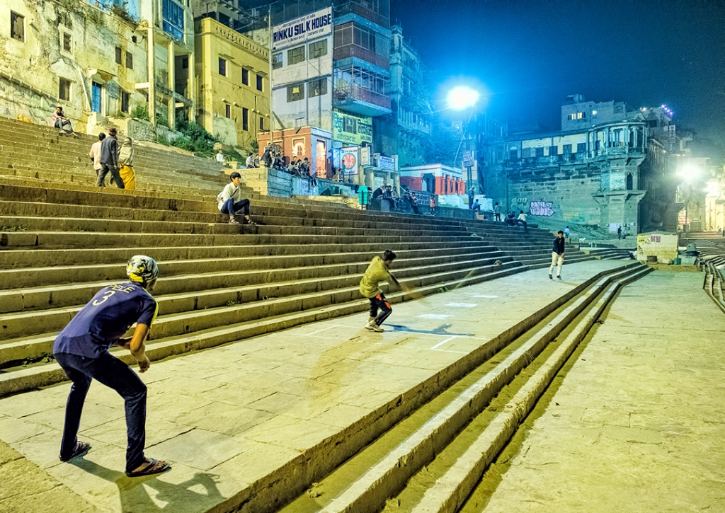 Cricket Under The Lights, Ganga Banks (Ganges River) Varanasi, Uttar Pradesh, India copy