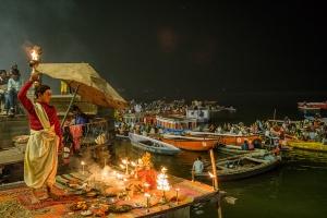 Fire and the Boy, The Ganga (Ganges River), Dashashwamedh Ghat, Varanasi, Uttar Pradesh, India copy