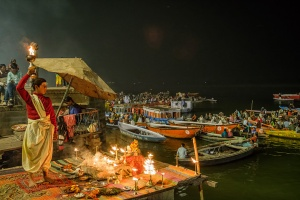 Fire and the Boy, The Ganga (Ganges River), Dashashwamedh Ghat, Varanasi, Uttar Pradesh, India copy