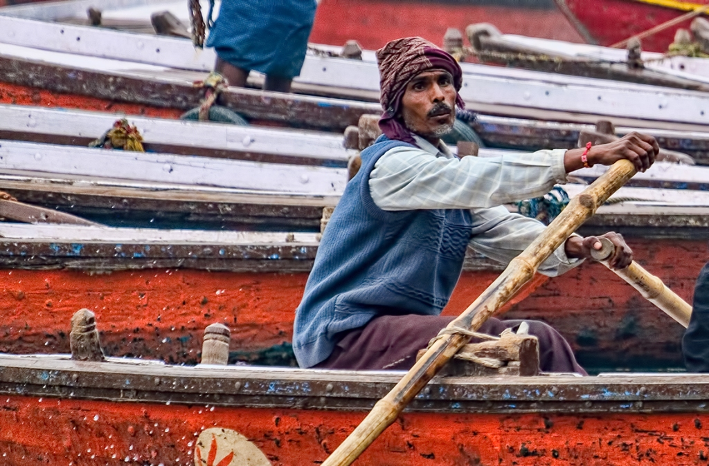 Rower on the Ganga, Ganges River, Varanasi, Uttar Pradesh, India copy