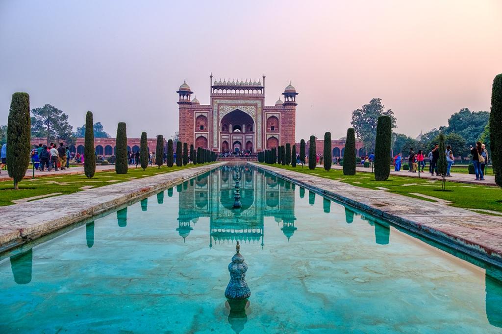 Southern Gate Reflections, Taj Mahal, Agra, Uttar Pradesh, India copy