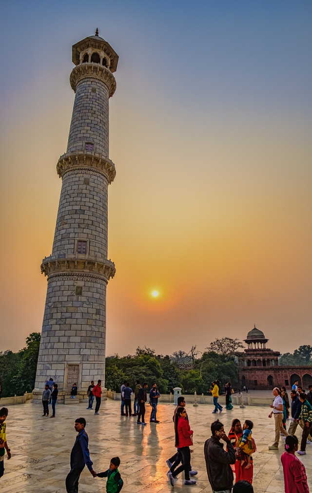 Spire and Sunset, Taj Mahal, Agra, Uttar Pradesh, India