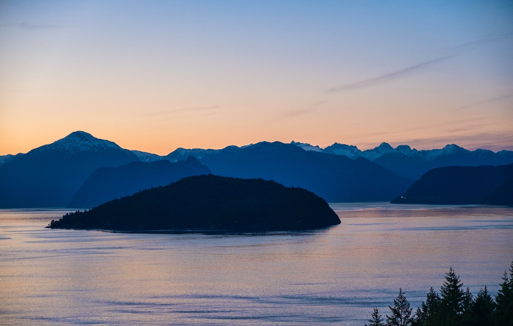 Bowyer Island Sunset, Howe Sound, From Sea to Sky Highway, Horseshoe Bay, British Columbia, Canada