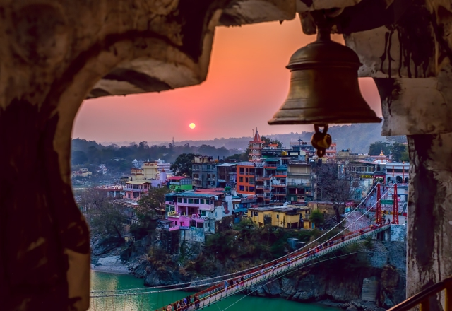 Bell on Trayambakeshwar Temple, Overlooking Laxman Jhula and Ganges River, Rishikesh, Uttarakhand, India