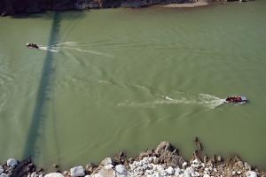 Ganges Current, Laxman Jhula Bridge, Rishikesh, Uttarakhand, India