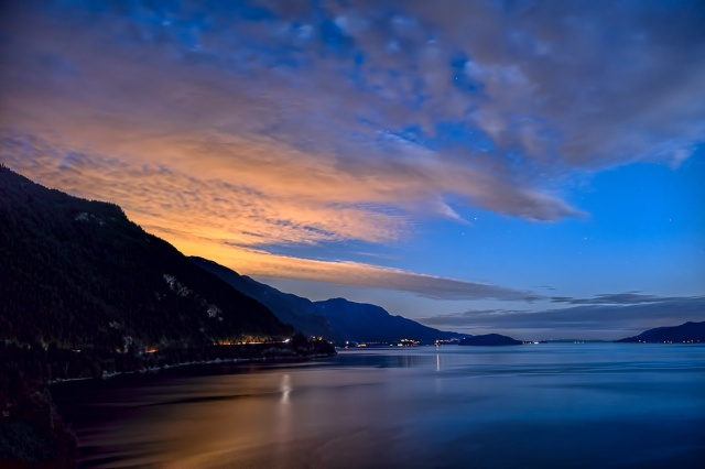Mountain High to City Lights, Howe Sound, Sea to Sky Highway, near Lions Bay, British Columbia, Canada