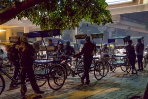 Waiting, Bicycle Rickshaw Line, Lajpat Nagar Metro Station, New Delhi, India