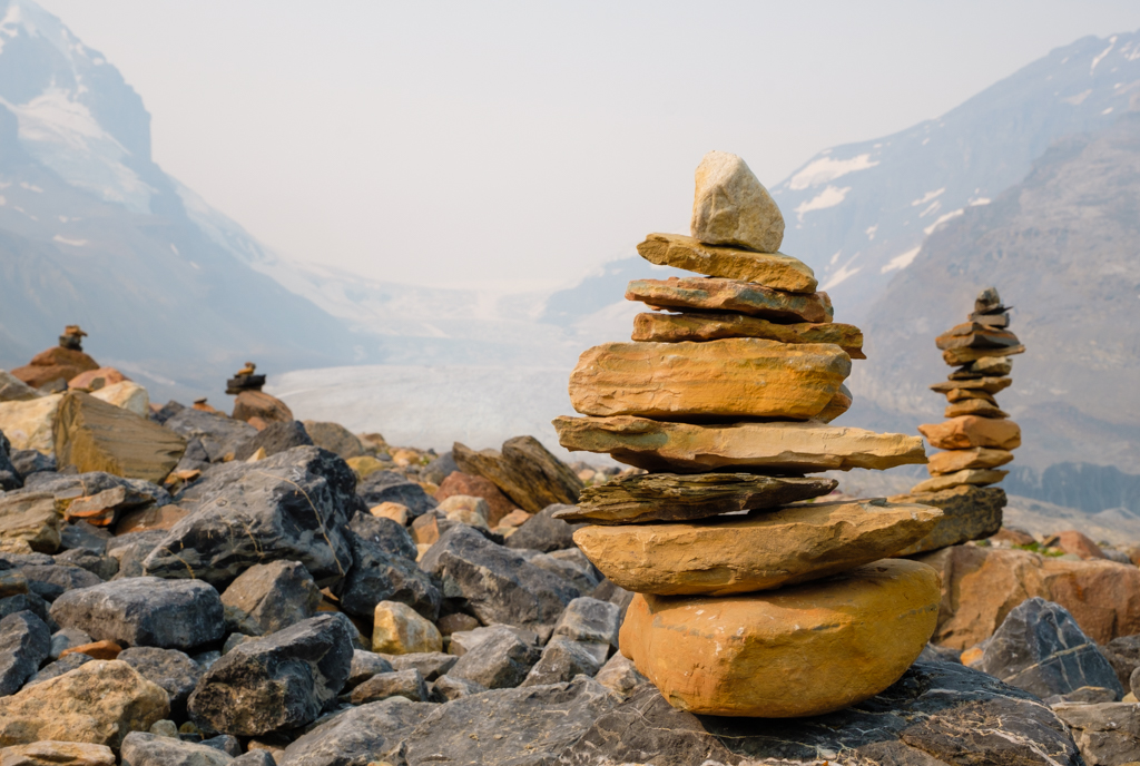 Cairns, Athabasca Glacier, Icefields Parkway, Jasper National Park, Alberta, Canada