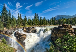 Rainbow in the Spray, Athabasca Falls, Athabasca River, Icefields Parkway, Jasper National Park, Alberta, Canada