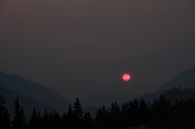 Wildfire Sunset, Approaching Golden, Trans Canada Highway, British Columbia, Canada