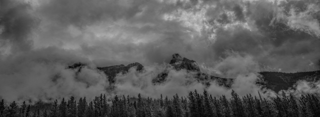 Rockies in the Clouds, Rocky Mountains, Trans Canada Highway, British Columbia, Canada