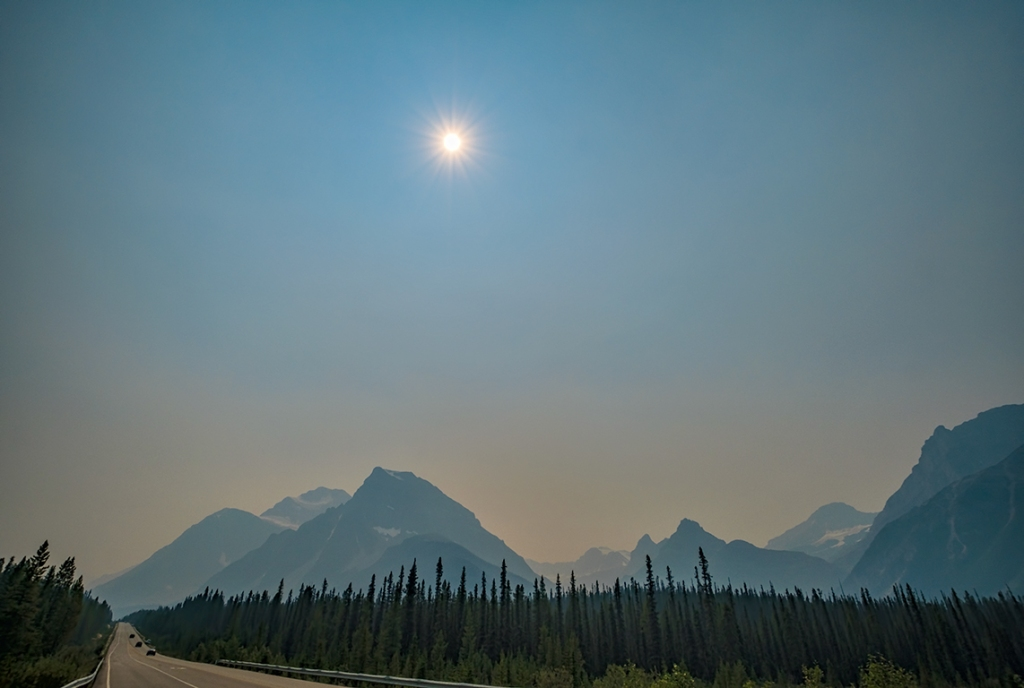 Sunburst Above the Smoke, Icefields Parkway, Banff National Park, Alberta, Canada