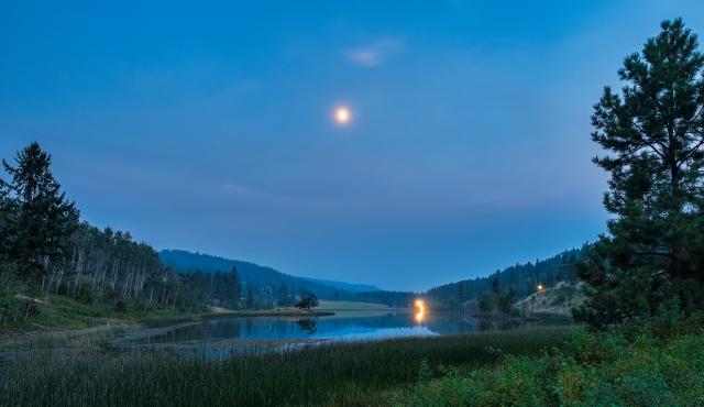 moon and road, Lakelands, Okanagan, British Columbia, Canada