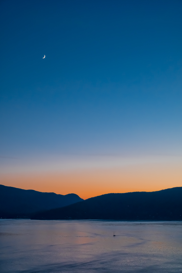 Crescent Moon and Sailboat, Bowen Island, Howe Sound, British Columbia, Canada