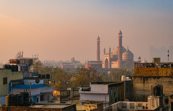 Jama Masjid Mosque, Sunrise, Hotel Tara Palace, Chandni Chowk, Old Delhi, India