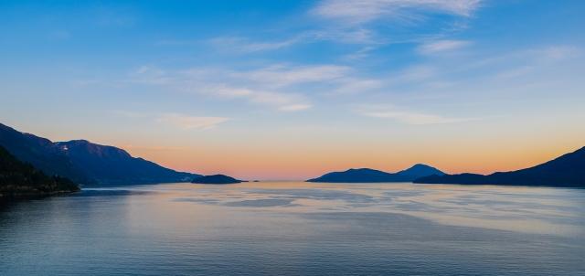 Magic Hour, Howe Sound, Sea to Sky Highway, Near Lion's Bay, British Columbia, Canada