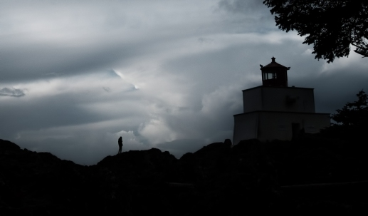 Silhouetto of a Man, Amphitrite Lighthouse, Wild Pacific Trail, Ucluelet, Vancouver Island, British Columbia, Canada