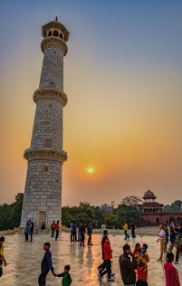Minaret and Sunset, Taj Mahal, Uttar Pradesh, India