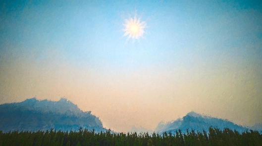Sun and Smoke, Saskatchewan Crossing, Icefields Parkway, Banff National Park, Alberta, Canada