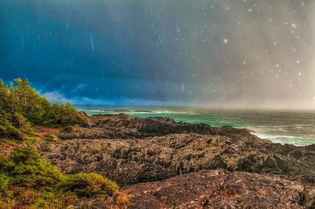 Sun Shower, Wild Pacific Trail, Ucluelet, Vancouver Island, British Columbia, Canada
