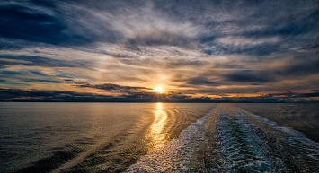 Sunset Halo, Strait of Georgia, BC Ferries, British Columbia, Canada