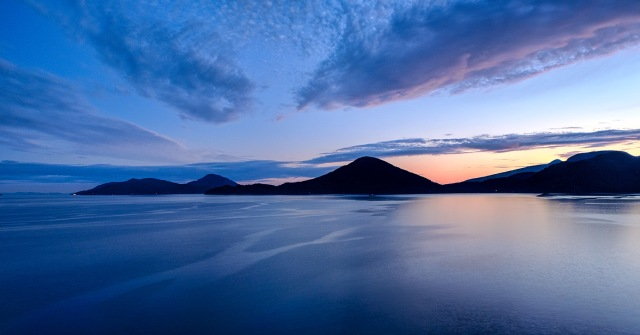 Sunset on the Sea, Howe Sound, Sea to Sky Highway, Near Lions Bay, British Columbia, Canada