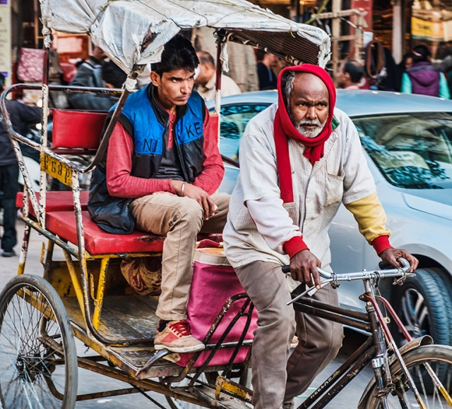 The Glare, Bicycle Rickshaw Passenger, Chandni Chowk, Old Delhi, India