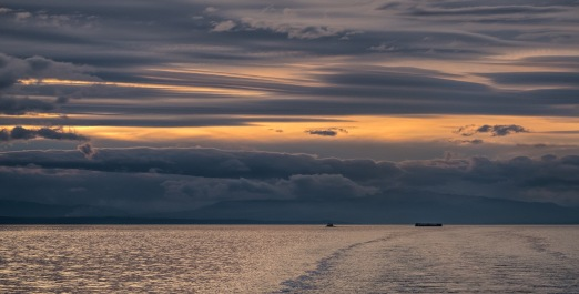 Tug and Barge at Sunset, Strait of Georgia, BC Ferries, Nanaimo to Horseshoe Bay, British Columbia, Canada