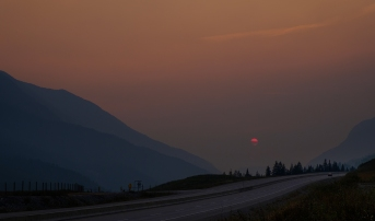 Wildfire Amber, Approaching Golden, Trans Canada Highway, British Columbia, Canada