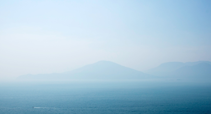 Hazy Sea to Sky, Howe Sound, Sea to Sky Highway, Near Lions Bay, British Columbia, Canada
