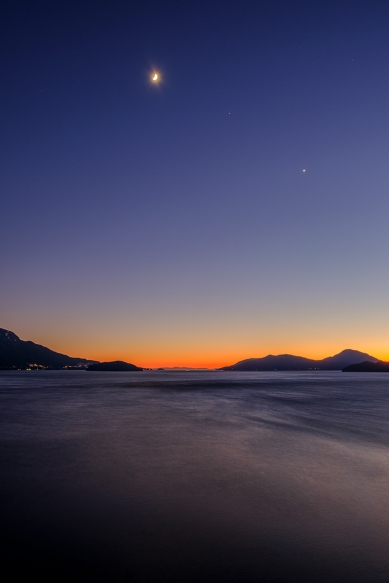 Moon, Planets, Sunset, Near Lions Bay, Howe Sound, Sea to Sky Highway, British Columbia, Canada