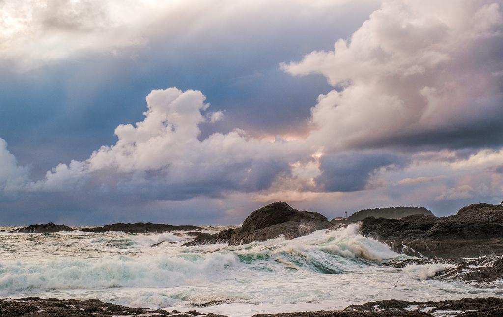 Lennard Island Lighthouse, from Frank Island, Chesterman Beach, Tofino, British Columbia, Canada