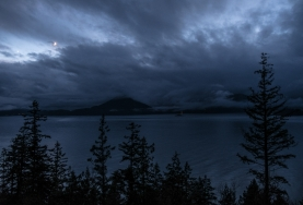 Obscured Crescent, Howe Sound, Sea to Sky Highway, Near Lions Bay, British Columbia, Canada