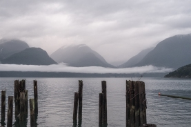Pilings and Mountains, Britannia Beach, Howe Sound, British Columbia, Canada