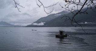 Rain and Boat, Britannia Beach, Howe Sound, British Columbia, Canada