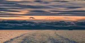Sunset Crossing, BC Ferries, Nanaimo to Horseshoe Bay, Strait of Georgia, British Columbia, Canada