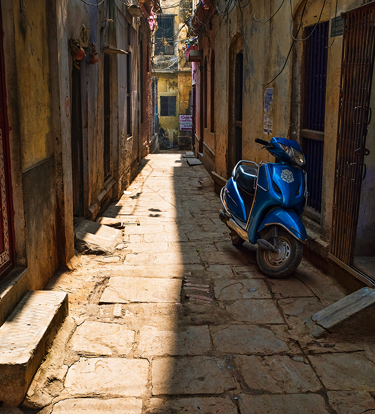 City Street with Scooter, Kashi (Old Varanasi), Uttar Pradesh, India