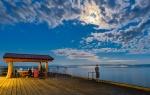 Moon and Shadows, Davis Bay Pier, Sechelt, British Columbia, Canada