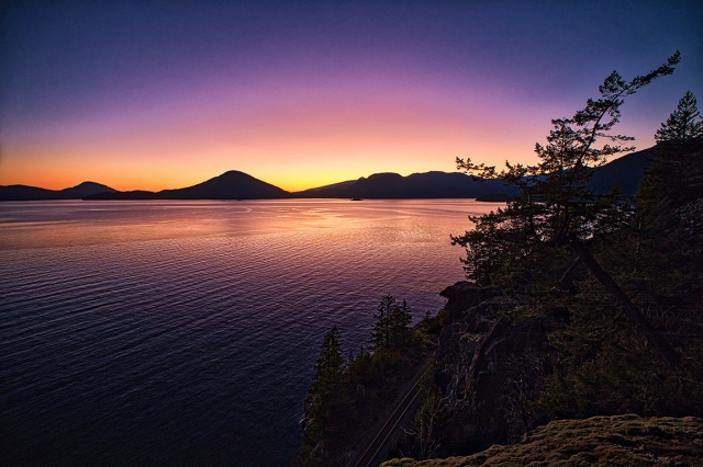 Psychedelic Sunset, Near Lions Bay, Howe Sound, Sea to Sky Highway, British Columbia, Canada