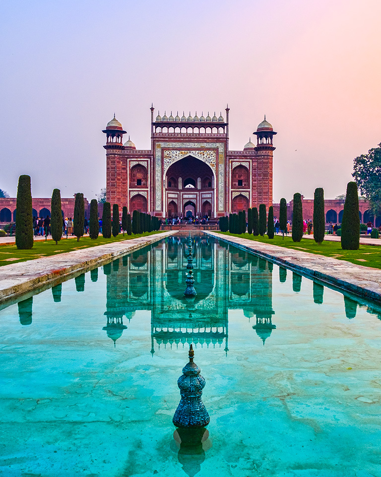 Reflections and Mirrors, Darwaza-i-Rauza, Gate of the Mausoleum, Taj Mahal, Agra, Uttar Pradesh, India