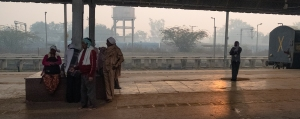 Shadows in the Station, Random Station Platform, Delhi to Agra Express Train, Uttar Pradesh, India