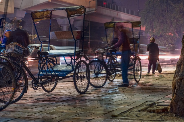 Stillness, Bicycle Rickshaw Line,, Lajpat Nagar Metro Station, New Delhi, India